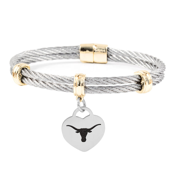 Texas Longhorns Charm Bracelet Stainless Steel Magnetic Clasp Bangle