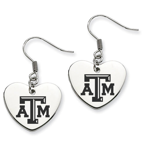 Texas A&M Aggies Stainless Steel Heart Earrings