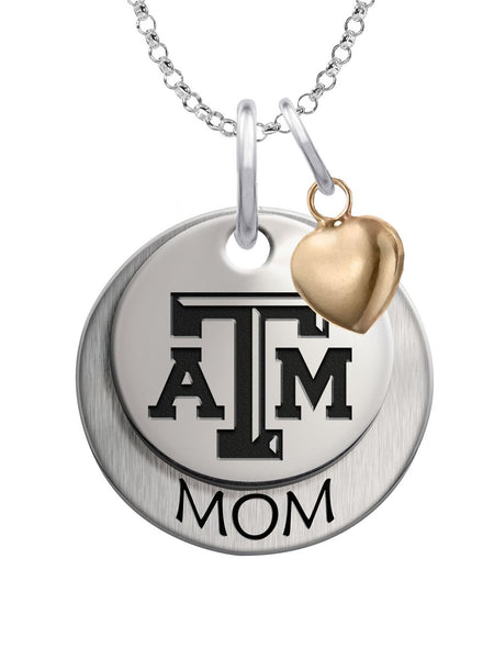 Texas A&M Aggies MOM Necklace with Heart Accent