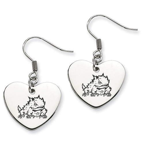 Texas Christian Stainless Steel Heart Earrings