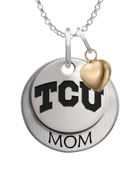 Texas Christian Horned Frogs MOM Necklace with Heart Accent