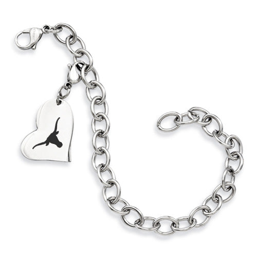 Texas Longhorns Stainless Heart Bracelet
