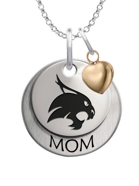 Texas State Bobcats MOM Necklace with Heart Accent
