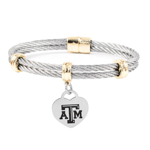 Texas A&M Aggies Charm Bracelet Stainless Steel Magnetic Clasp Bangle