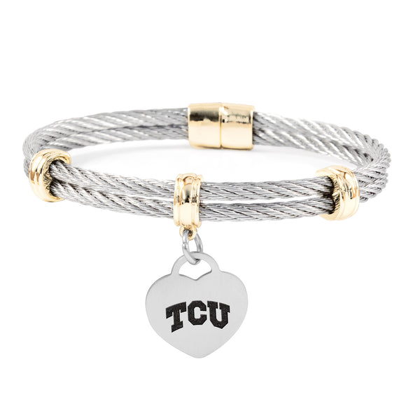 Texas Christian Horned Frogs Charm Bracelet Stainless Steel Magnetic Clasp Bangle - DealsAmazingDeals.com