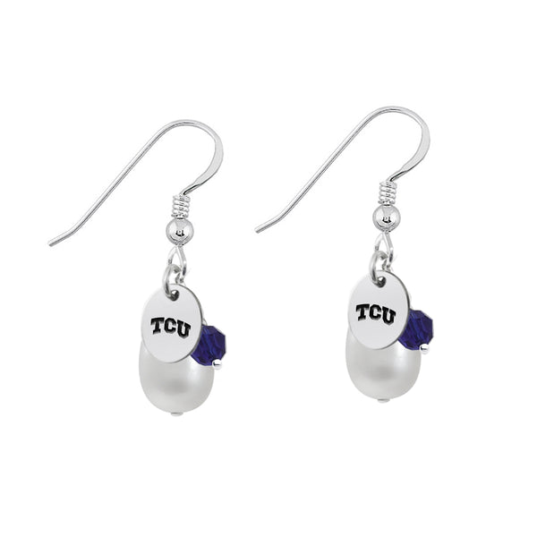 Texas Christian Horned Frogs Color and Freshwater Pearl Earrings