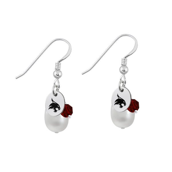 Texas State Bobcats Color and Freshwater Pearl Earrings - DealsAmazingDeals.com