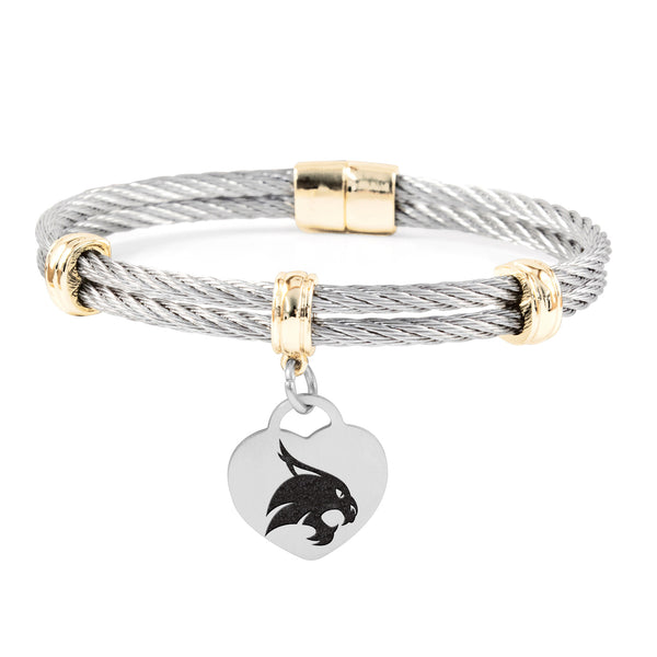 Texas State Bobcats Charm Bracelet Stainless Steel Magnetic Clasp Bangle