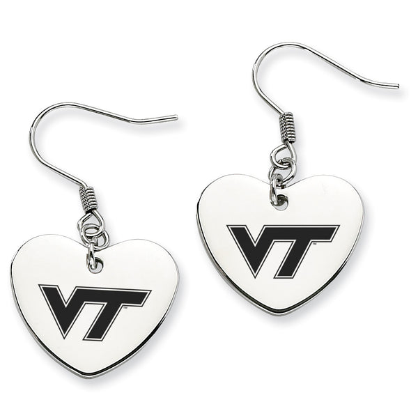 Virginia Tech Stainless Steel Heart Earrings