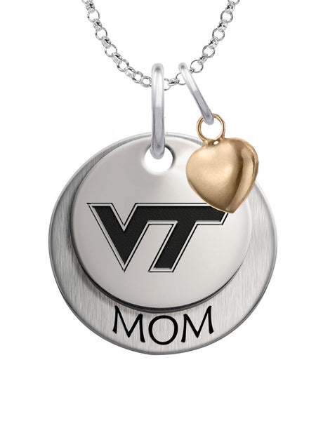 Virginia Tech Hokies MOM Necklace with Heart Accent