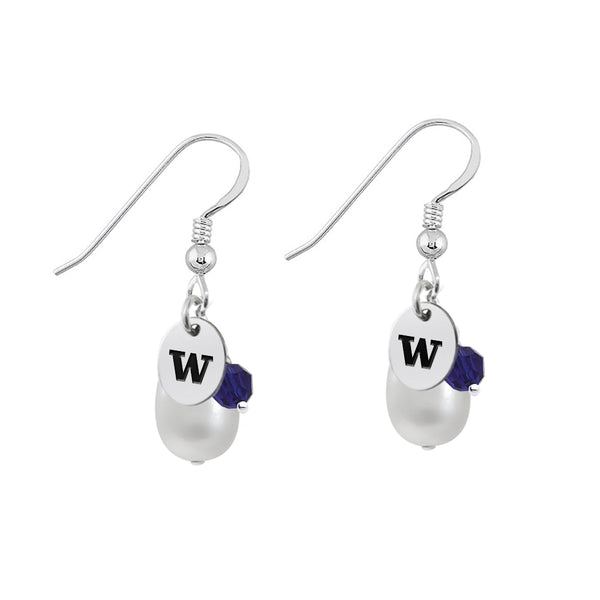 Washington Huskies Color and Freshwater Pearl Earrings
