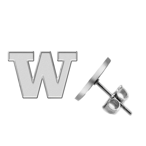 Washington Huskies Silver Stud Earrings