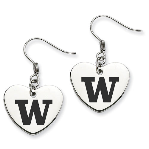 Washington Huskies Stainless Steel Heart Earrings