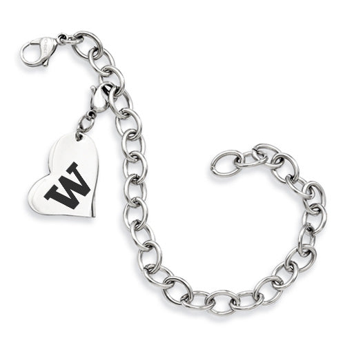 Washington Huskies Stainless Heart Bracelet