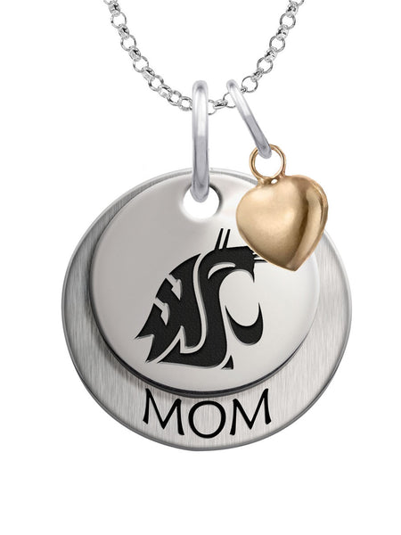 Washington State Cougars MOM Necklace with Heart Accent