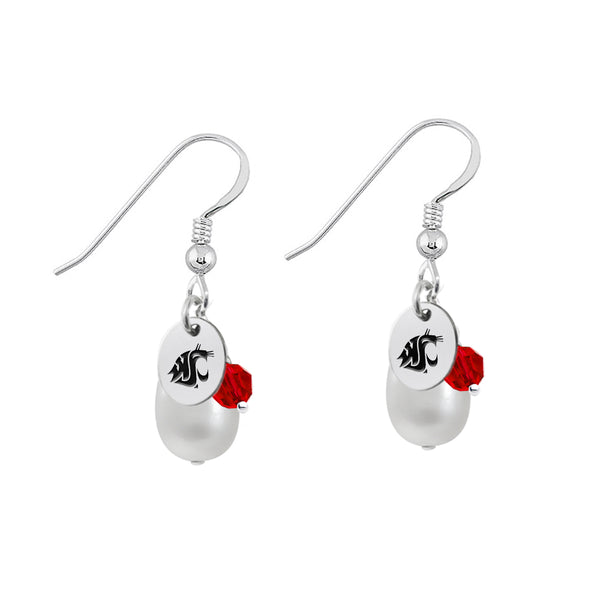 Washington State Cougars Color and Freshwater Pearl Earrings