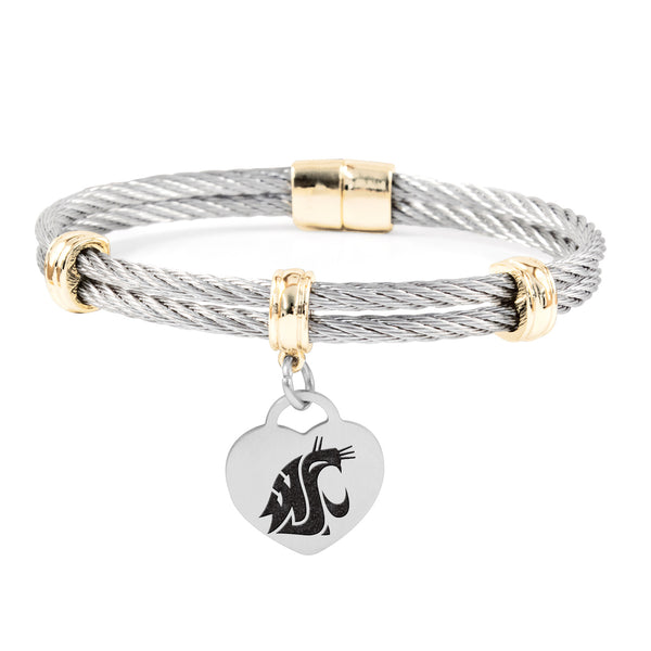 Washington State Cougars Charm Bracelet Stainless Steel Magnetic Clasp Bangle