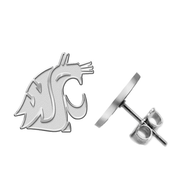 Washington State Cougars Silver Stud Earrings