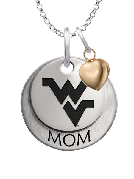 West Virginia Mountaineers MOM Necklace with Heart Accent
