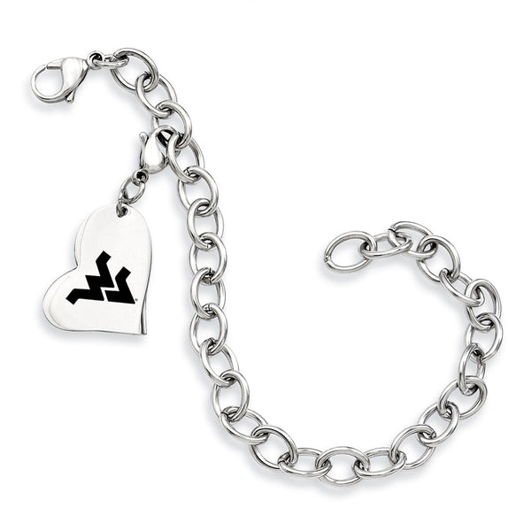 West Virginia Mountaineers Stainless Heart Bracelet