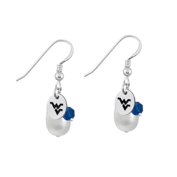 West Virginia Mountaineers Color and Freshwater Pearl Earrings