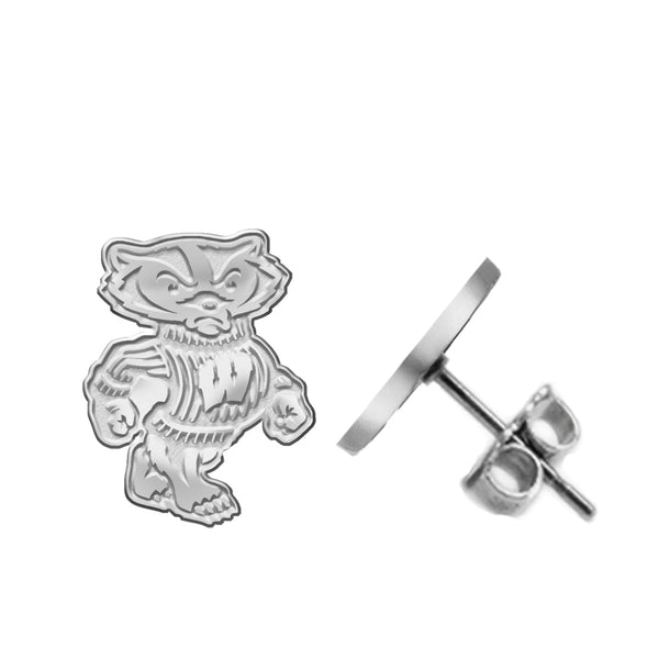 Wisconsin Badgers Silver Stud Earrings