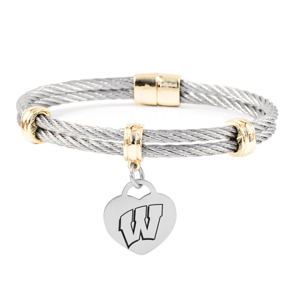 Wisconsin Badgers Charm Bracelet Stainless Steel Magnetic Clasp Bangle