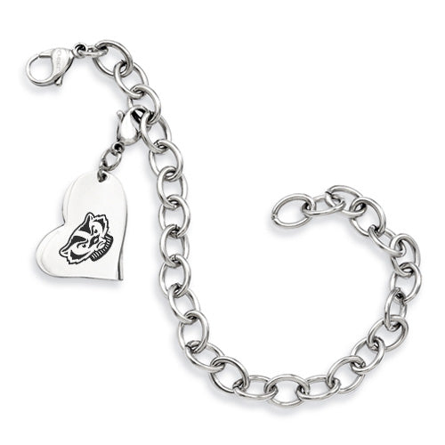 Wisconsin Badgers Stainless Heart Bracelet - DealsAmazingDeals.com