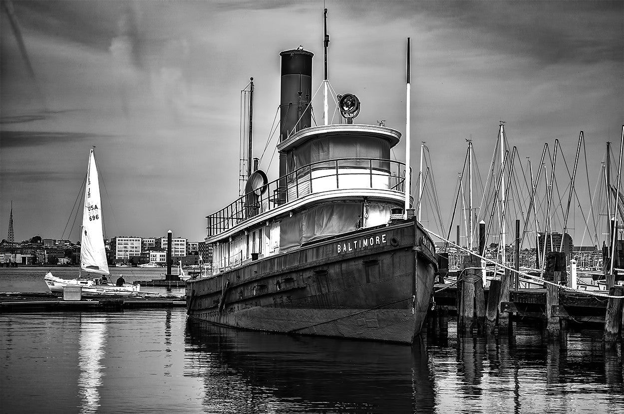 Historic Baltimore Tugboat moored behind the Baltimore Museum of Industry.