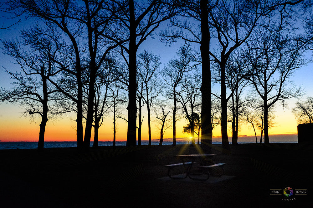A sunrise photograph created along the shores of the Chesapeake Bay in Anne Arundel County.