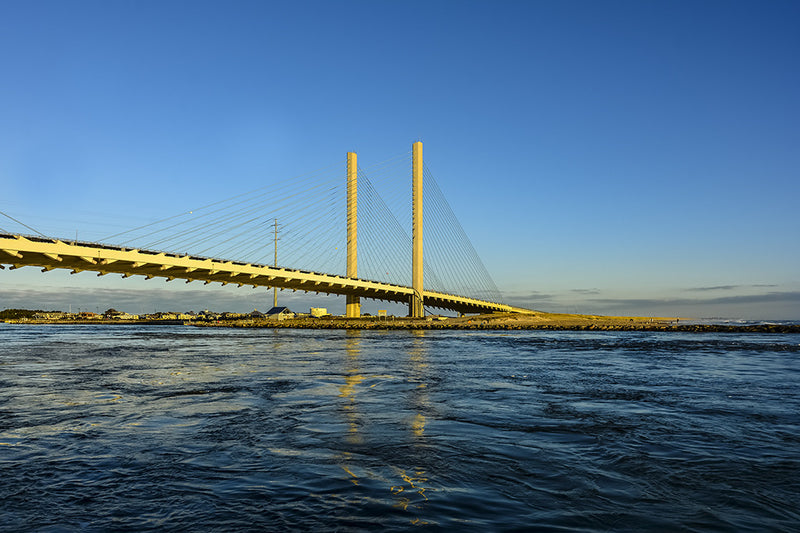 The Indian river inlet bridge, also known as the Charles W. Cullen Bridge.