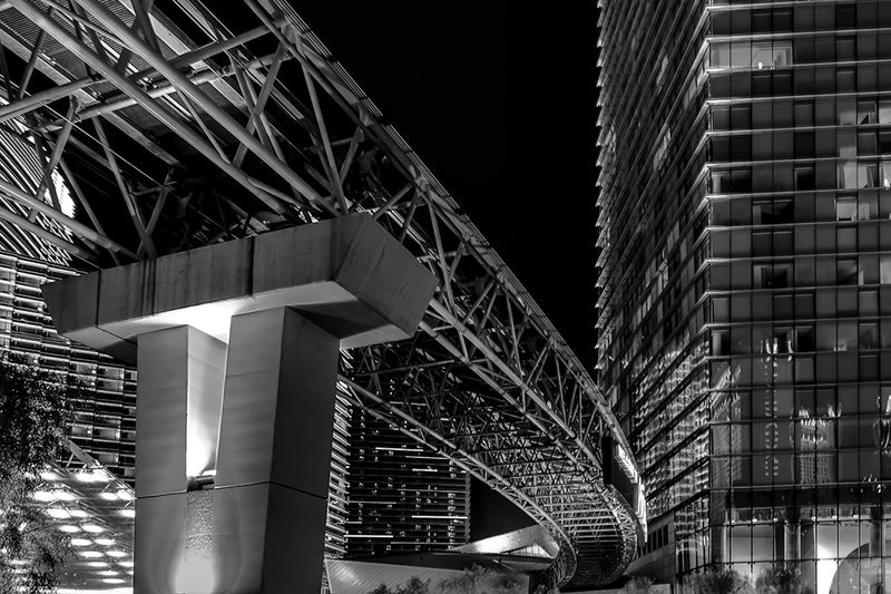 Black and white photo of monorail system in Las Vegas' Center City.