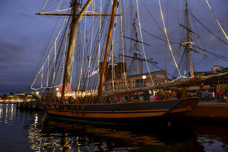 The Pride of Baltimore II, docked at Baltimore's inner harbor during an evening in the Spring of 2017.
