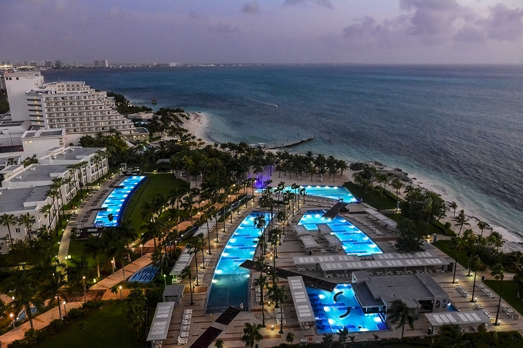A photographic look from the 12th floor of the RIU Palace in Cancun Mexico.