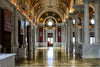 Inside the Jefferson Building in Washington DC, an ornately decorated hallway of the Library of Congress.