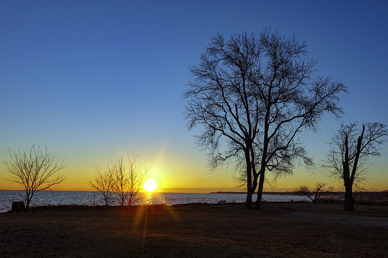 The sun rises over the shores of the Chesapeake Bay in Anne Arundel County, Maryland.
