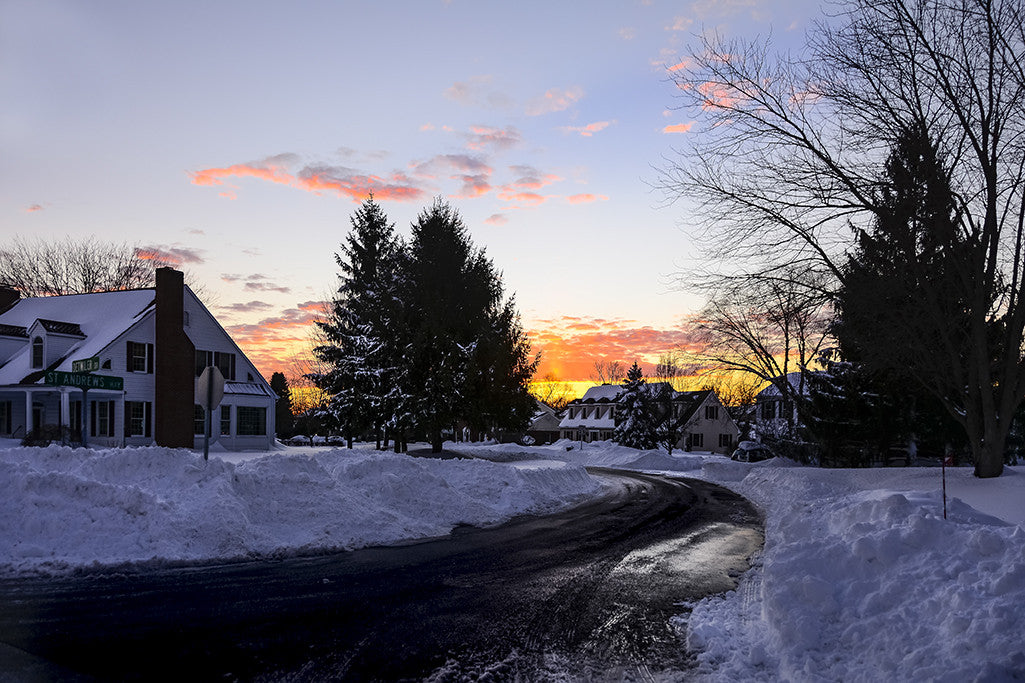 The first sunset after a 2015 snowstorm in Baltimore County, Maryland.