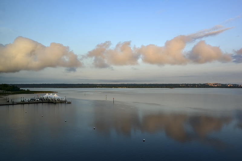 On a calm morning, a view of the Potomac River from the National Harbor in Oxon Hill, Maryland.