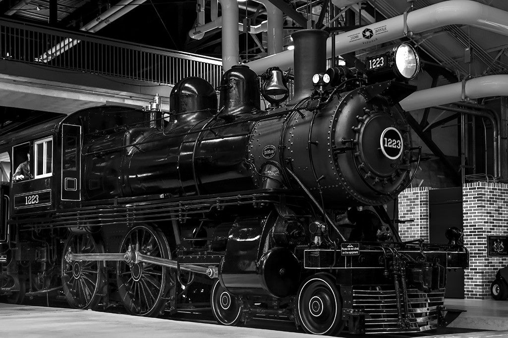 The PRR 1223 steam locomotive, as seen in the Railroad Museum of Pennsylvania.