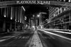 Black and white fine art photograph of downtown Cleveland's Playhouse Square.