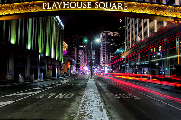 Playhouse Square in color.