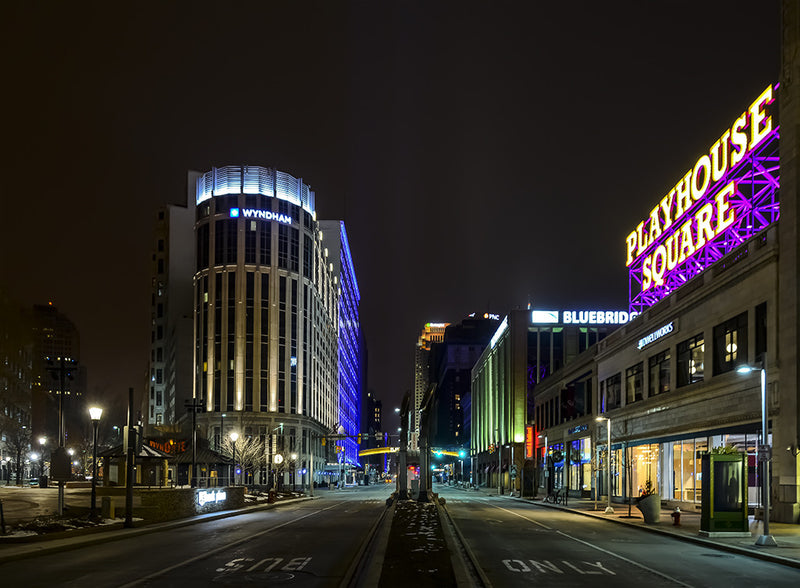 The theater district known as Playhouse Square in Cleveland Ohio.