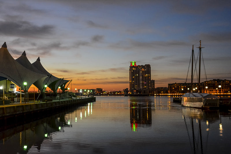 An early morning photograph of the Baltimore inner harbor near Pier 5.