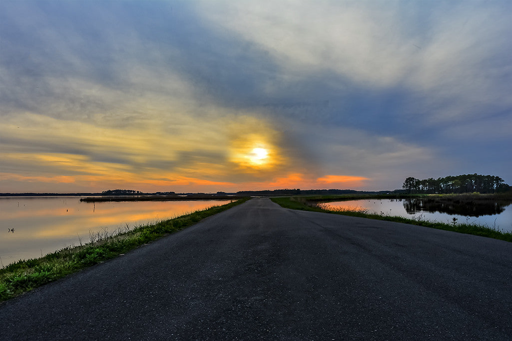 A perimeter road within the Blackwater National Wildlife Refuge leads to a setting sun.