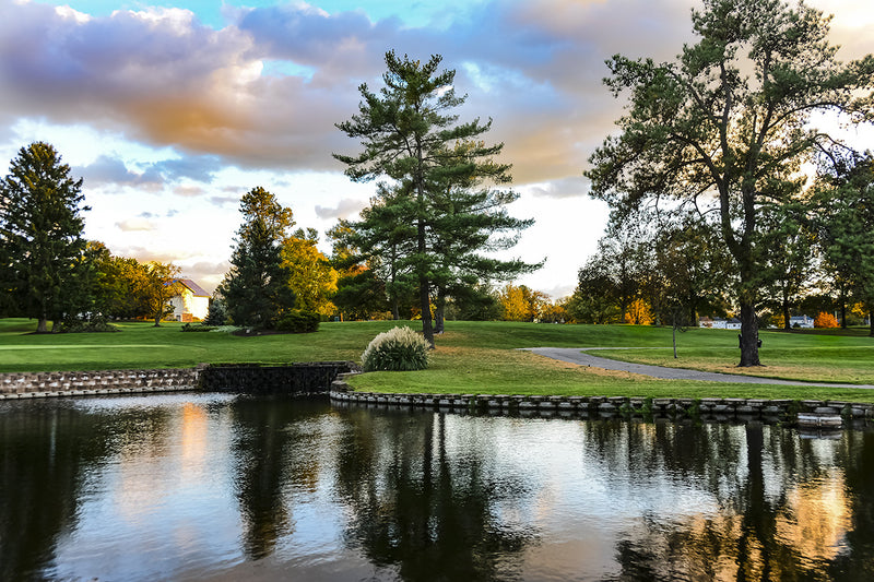 Storm Water Management Pond incorporated into the design of a golf course community.