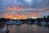 A colorful sunrise at the Shelter Cove Harbour on Hilton Head Island.
