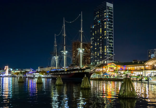 The historic ship USS Constellation, shown here at her home in Baltimore's inner harbor.