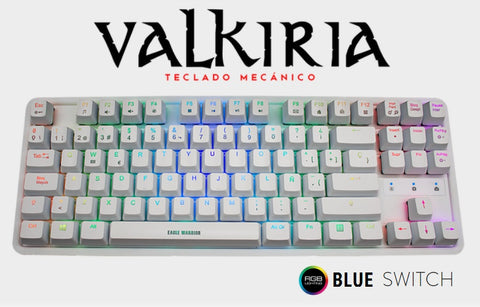 TECLADO EAGLE WARRIOR VALKIRA MECANICO WHITE
