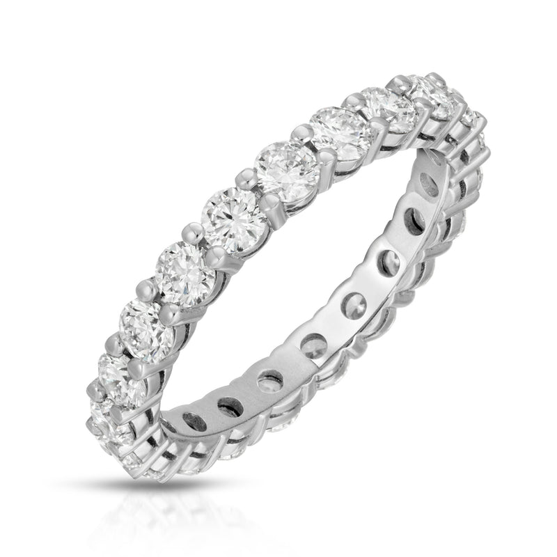 Round Diamond Share Prong Eternity Band