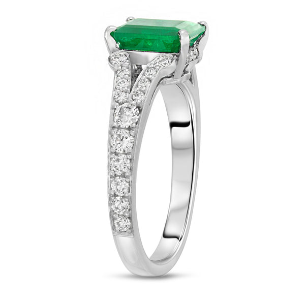 Split Shank Emerald Ring
